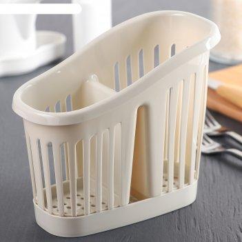 Сушилка для столовых приборов 2-х секционная, цвет белый ротанг