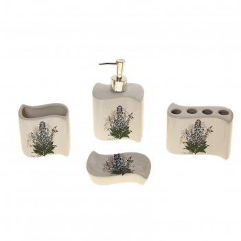 Набор для ванной лаванда, 4 предмета: мыльница, дозатор для мыла, 2 стакан