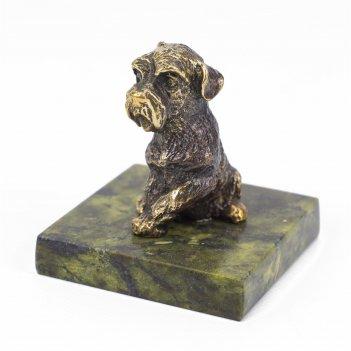 Статуэтка собачка средняя №3 бронза змеевик 40х40х50 мм 160 гр.