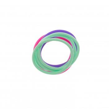 Резинки для волос dewal beauty силикон, фиолетовый/розовый/ зеленый (12шт)