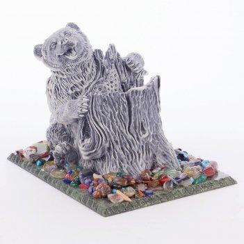 Карандашница медведь змеевик мрамолит самоцветы 100х150х110 мм
