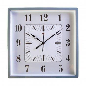 Часы настенные квадратные классика, 30х30 см, обод серый  микс