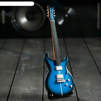 Гитара сувенирная santana синяя, на подставке 24х8х2 см