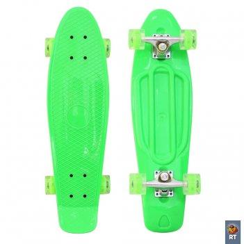 """171206 скейтборд classic 26"""" 68х19 ywhj-28 пластик со светящимися кол"""