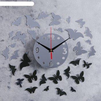 Часы-наклейка diy бабочки d=15 см, плавный ход, тип батарейки 1 аа