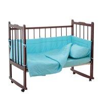 Комплект в кроватку 4 предмета горошки бирюзовый 10403