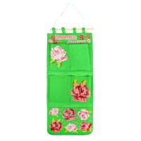 Кармашки на стену приятные мелочи (5 отделений), цвет зеленый