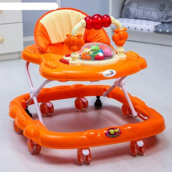 Ходунки «маленькие друзья», 8 силик. колес, муз., свет, игрушки, оранжевый