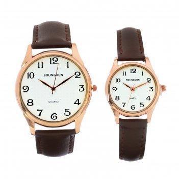 Часы наручные, филис, парный набор для нее и для него, коричневый
