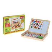 Конструктор магнитный весёлые буквы в деревянной коробке + мел, маркер, гу
