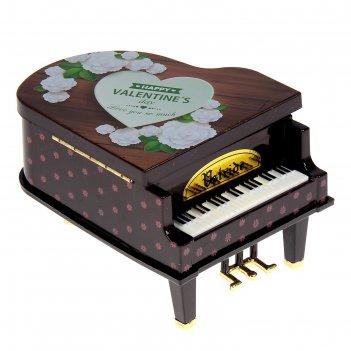 Шкатулка музыкальная пластик фортепиано с картинками микс 14х11х10 см