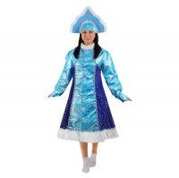 Карнавальный костюм снегурочка 2 предмета: платье, кокошник, размер 46-48