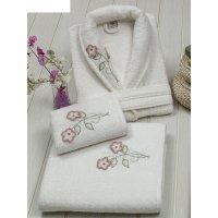Набор женский (халат+полотенца 50х90-1 шт., 90х150-1 шт.), цвет кремовый