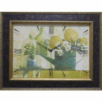 Часы картины династия 04-023-13 зеленый натюрморт
