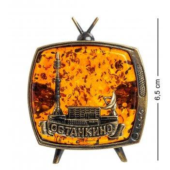 Am-1105 магнит телевизор останкино (латунь, янтарь)