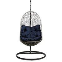 Подвесное кресло-качели на стальной штанге, иск. ротанг, серый/синий