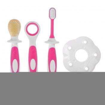 Зубная щётка детская, набор 3 шт. с ограничителем: силиконовая, с мягкой щ