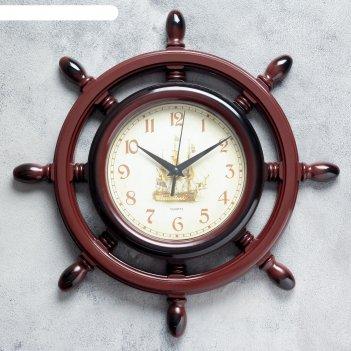 Часы настенные штурвал коричневая патина d=35см