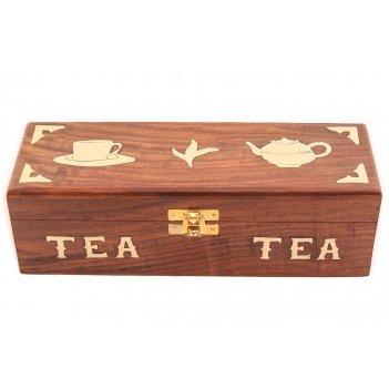 Шкатулка под чай (дерево красный палисандр, латунь)