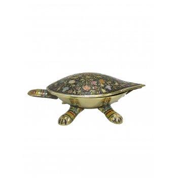 Шкатулка черепаха латунь с тёмной цветной эмалью 6,5