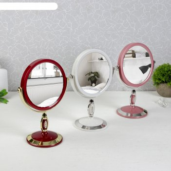 Микс зеркало настольное на ножке, круглое, со стразами, 2-х стороннее с ув