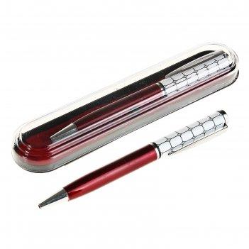 Ручка шариковая подарочная в пластиковом футляре поворотная мозайка бордо-