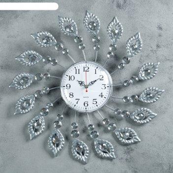 Часы настенные, серия: ажур, перья, стразы, d=40 см микс