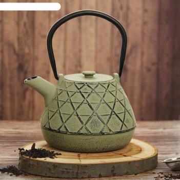 Чайник с ситом 1 л ламис, цвет зеленый