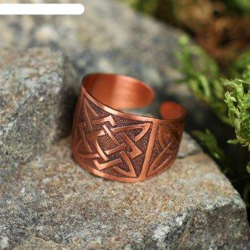 Кольцо-амулет квадрат сварога, пластинчатый, медь