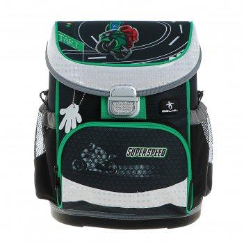 Ранец на замке belmil mini-fit 36*28*17 мал super speed, серый/зелёный