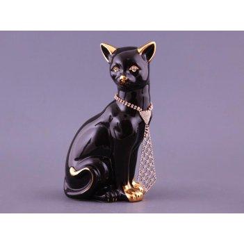 Фигурка кошка черная с галстуком высота=25,5см