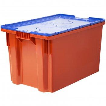 Ящик safe pro, сплошной 600х400х350 красный с синей крышкой