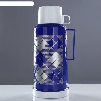 Термос 1,8 литра, клеточки, 1 кружка, 1 чашка, держит тепло 10 часов, 33х1