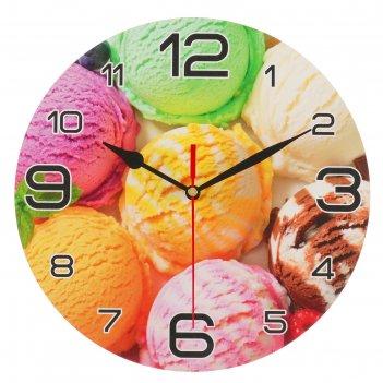 Часы настенные круглые мороженое радуга, 24 см