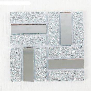 Мозаика стеклянная на клеевой основе №19, цвет серебрянный
