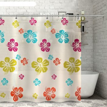 Штора для ванной 180x180 см гавайская роза, eva