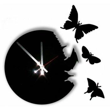 Часы настенные порхающие бабочки черные cl104ч 28х28см