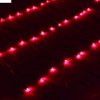 Сетка ш:1 м, в:0,7 м, нить темная, led-96-220v, контр. 8 р, красный