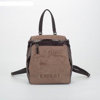 Сумка-рюкзак молод 966, 31*12*35, отд на молнии 4 н/кармана, expert коричн