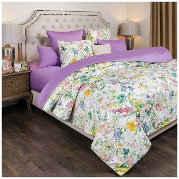 Одеяло летнее стёганное 220х220см флёр,хлопок 100%+синтипон,цветы+лаванда,