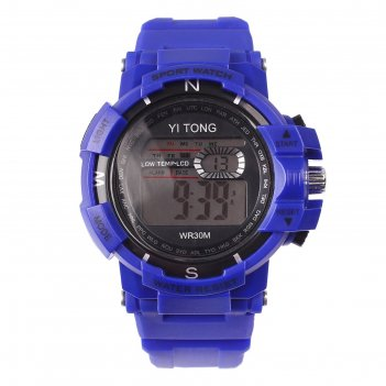 Часы наручные кретчер, электронные, с силиконовым ремешком, l=23 см, синие
