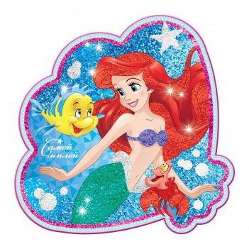Фреска песком (9 цветов) и блёстками самой милой, принцессы: ариель, бонус