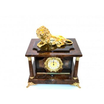 Часы-сейф из обсидиана с львом