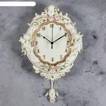 Часы настенные интерьерные с маятником ангелы и розы