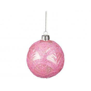 Декоративное изделие шар стеклянный диаметр=8 см. высота=9 см. цвет: розов