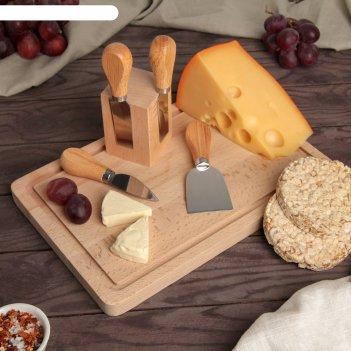 Набор ножей 4 шт. для подачи сыра на магнитной подставке, бразильская геве