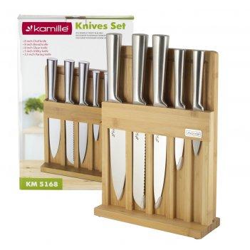 Набор кухонный ножей из нержавеющей стали на подставке kamille km-5168 (5