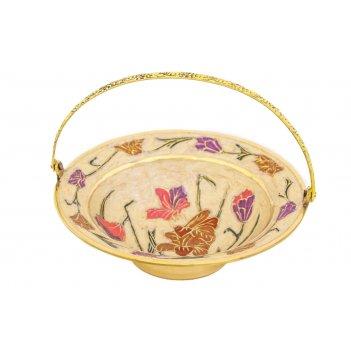 Фруктовница-корзинка цветы,латунь с эмалью