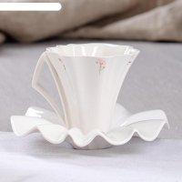Набор чайный 2 предмета лотос белый золото  кружка 0,2 л + блюдце