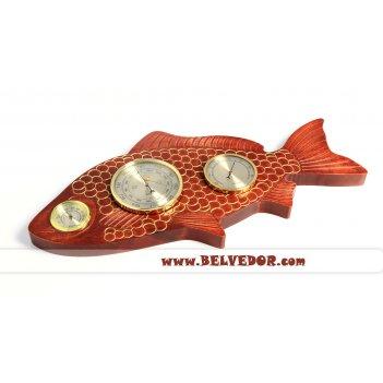 Настенная метеостанция для рыбака в форме рыбы (бриг+)